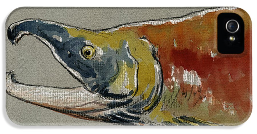 Sockeye IPhone 5 Case featuring the painting Sockeye Salmon Head Study by Juan Bosco