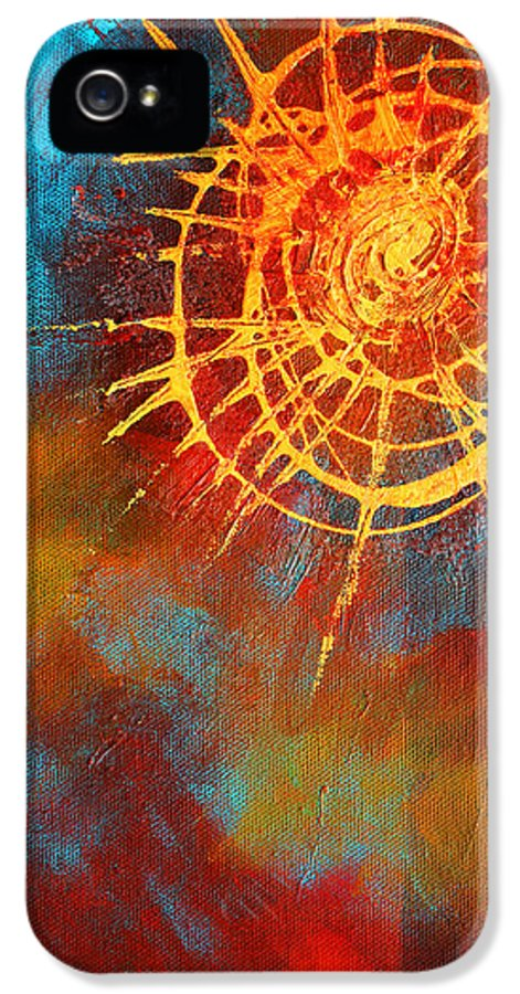 Funky IPhone 5 Case featuring the painting Solar by Nancy Merkle