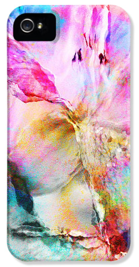 Large Abstract IPhone 5 Case featuring the painting Somebody's Smiling - Abstract Art by Jaison Cianelli