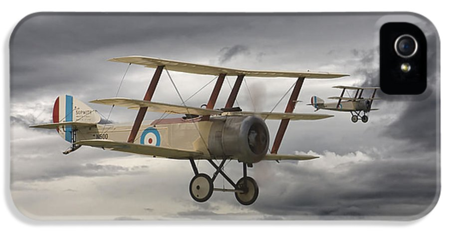 Aircraft IPhone 5 Case featuring the digital art Sopwith Triplane by Pat Speirs