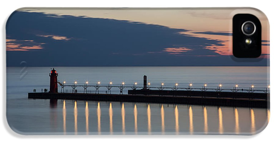 3scape Photos IPhone 5 Case featuring the photograph South Haven Michigan Lighthouse by Adam Romanowicz