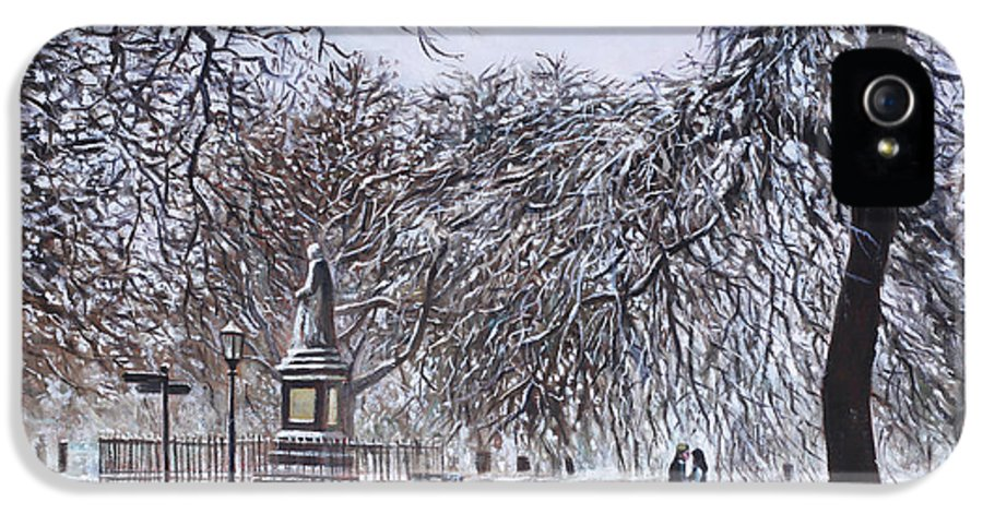 Southampton IPhone 5 Case featuring the painting Southampton Watts Park In The Snow by Martin Davey
