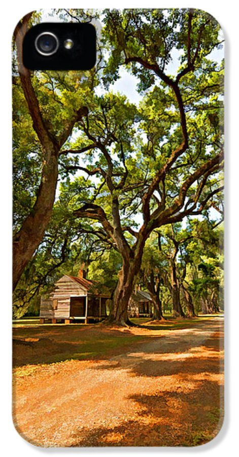 Evergreen Plantation IPhone 5 Case featuring the photograph Southern Lane Paint Filter by Steve Harrington