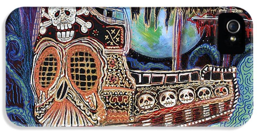 Pirate IPhone 5 Case featuring the painting Space Pirates by Laura Barbosa