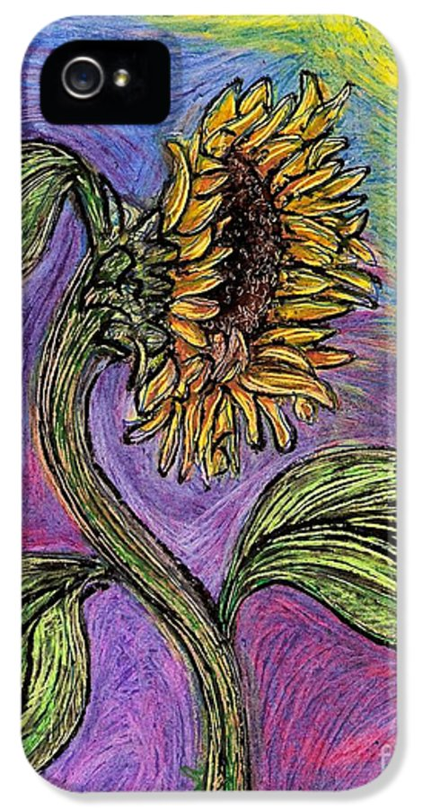 Spanish Sunflower IPhone 5 Case featuring the drawing Spanish Sunflower by Sarah Loft