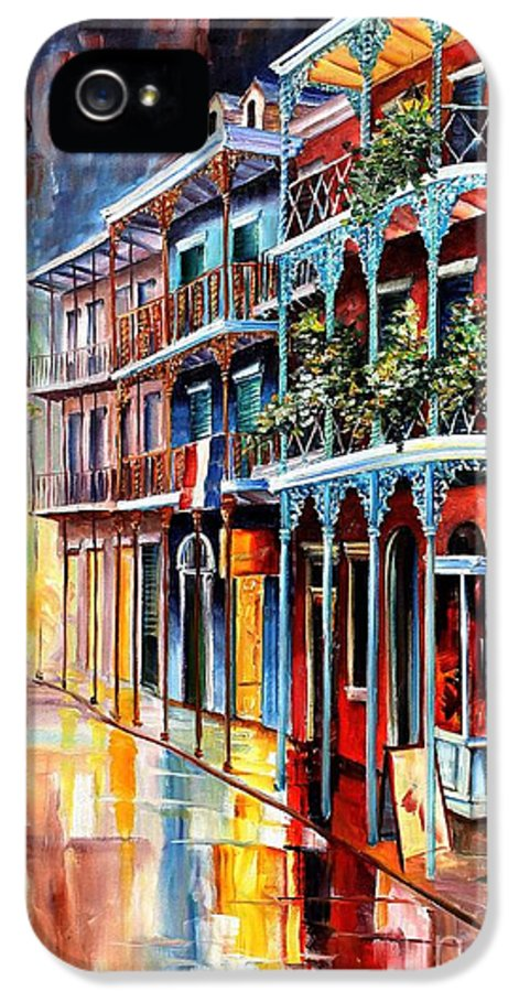 New Orleans IPhone 5 Case featuring the painting Sparkling French Quarter by Diane Millsap