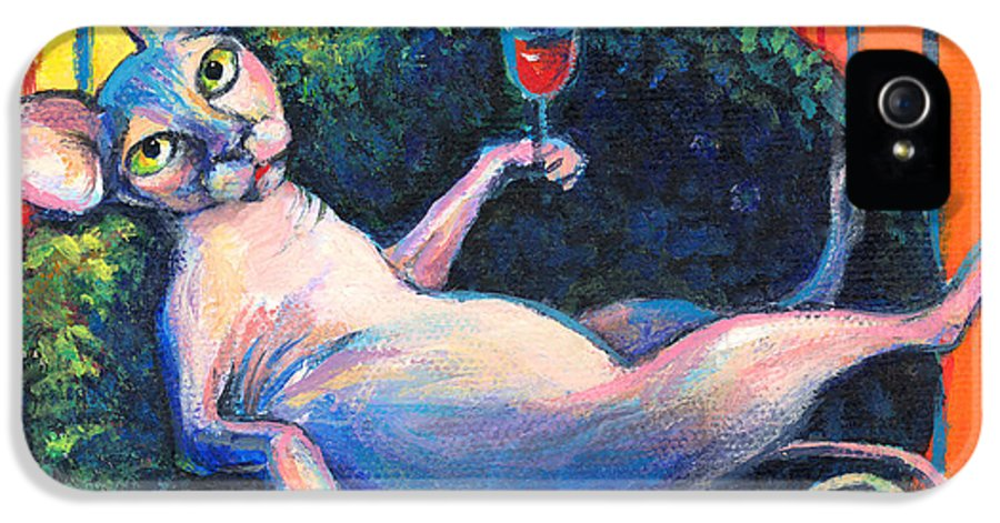 Sphynx Cat IPhone 5 Case featuring the painting Sphynx Cat Relaxing by Svetlana Novikova