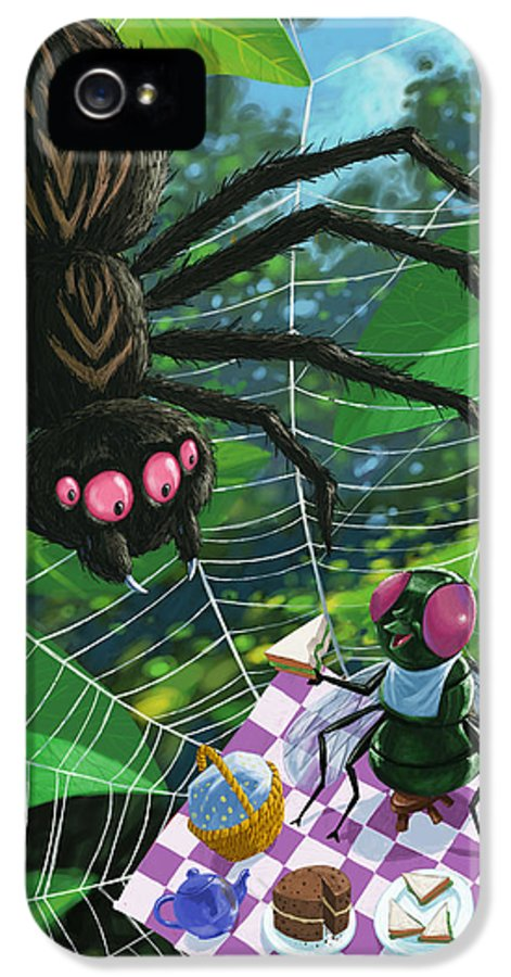 Picnic IPhone 5 Case featuring the painting Spider Picnic by Martin Davey