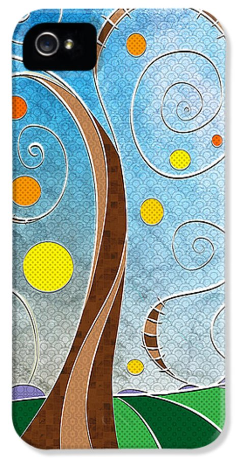 Stylized Landscape IPhone 5 Case featuring the digital art Spiralscape by Shawna Rowe