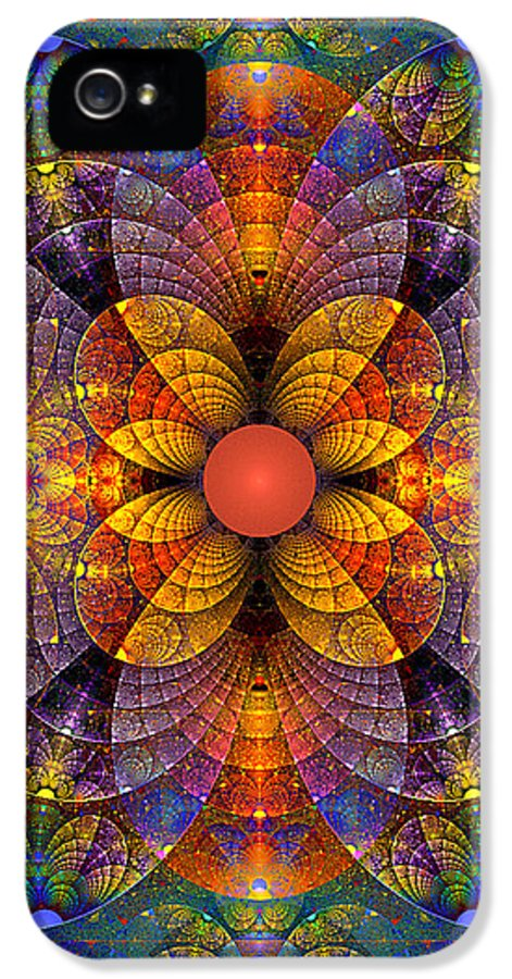 Abstract IPhone 5 Case featuring the digital art Split Crops Fractal by Peggi Wolfe