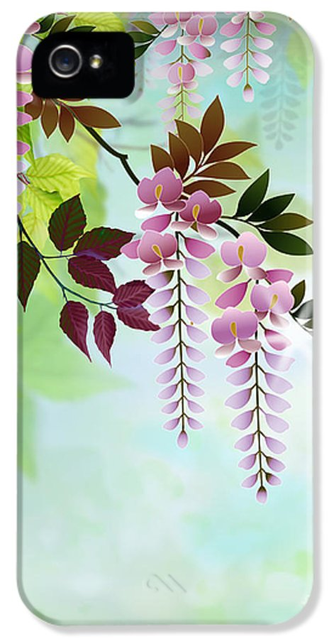 Spring IPhone 5 Case featuring the digital art Spring Wisteria by Bedros Awak
