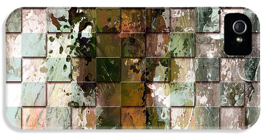 Abstract IPhone 5 Case featuring the painting Square Mania - Abstract 09 by Emerico Imre Toth