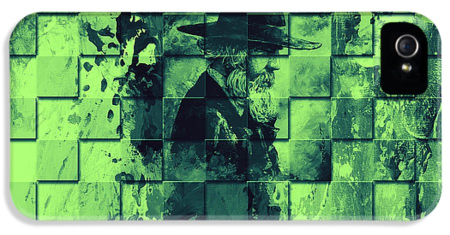 Abstract IPhone 5 Case featuring the painting Square Mania - Old Man - Limeblue by Emerico Imre Toth