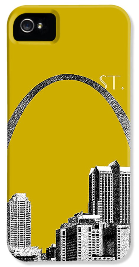 Architecture IPhone 5 Case featuring the digital art St Louis Skyline Gateway Arch - Gold by DB Artist