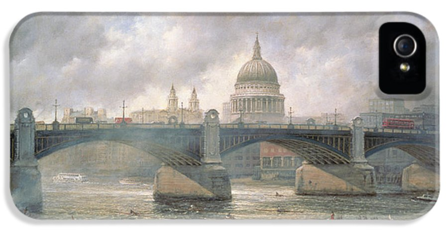 Thames IPhone 5 Case featuring the painting St. Paul's Cathedral From The Southwark Bank by Richard Willis