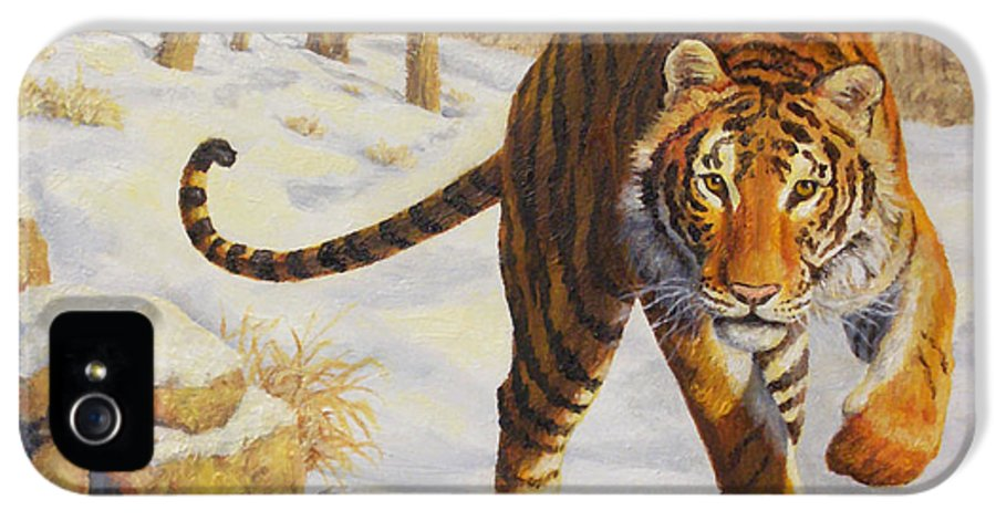 Siberia IPhone 5 Case featuring the painting Stalking Siberian Tiger by Crista Forest