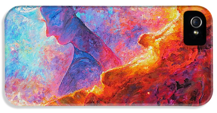 Star Dust Angel IPhone 5 Case featuring the painting Star Dust Angel by Julie Turner