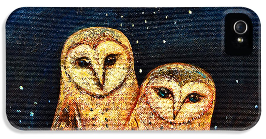 Owl IPhone 5 Case featuring the painting Starlight Owls by Shijun Munns