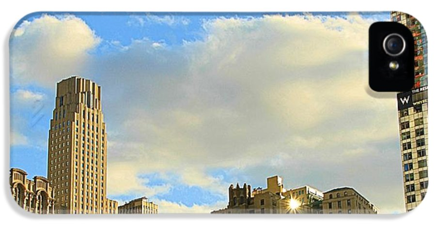 Starlit Skyline IPhone 5 Case featuring the photograph Manhattan Skyline Here Comes The Sun by Dan Sproul