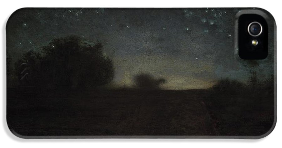 Black IPhone 5 Case featuring the painting Starry Night by Jean-Francois Millet