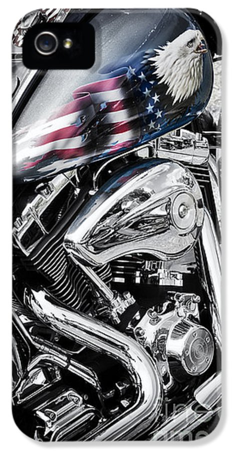 Harley Davidson IPhone 5 Case featuring the photograph Stars And Stripes Harley by Tim Gainey