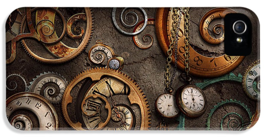 Steampunk IPhone 5 Case featuring the photograph Steampunk - Abstract - Time Is Complicated by Mike Savad