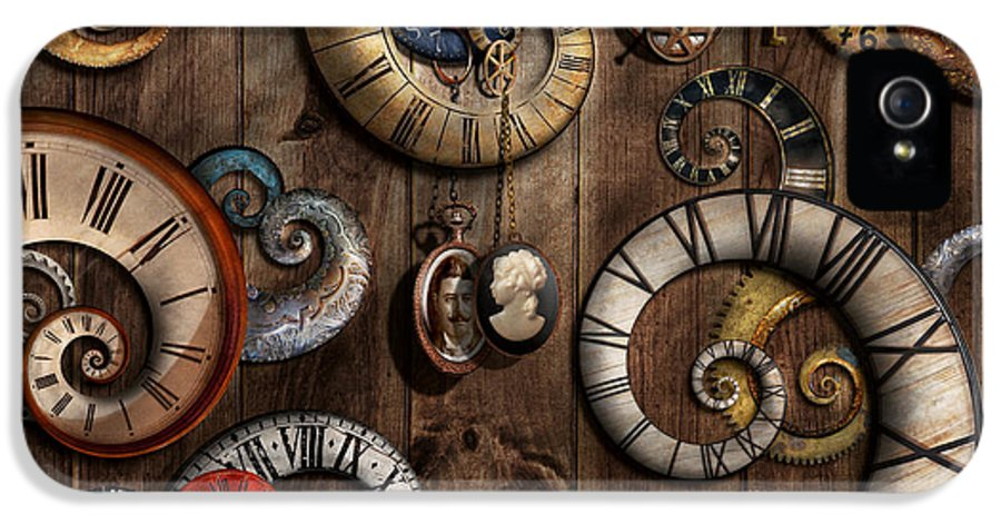 Savad IPhone 5 Case featuring the photograph Steampunk - Clock - Time Machine by Mike Savad
