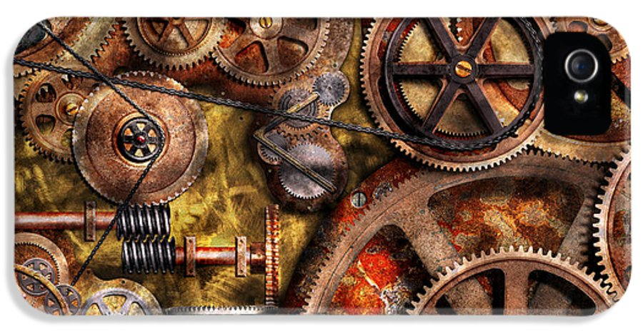 Steampunk IPhone 5 Case featuring the photograph Steampunk - Gears - Inner Workings by Mike Savad