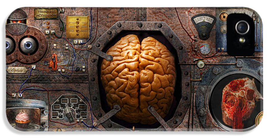 Brain IPhone 5 Case featuring the photograph Steampunk - Information Overload by Mike Savad