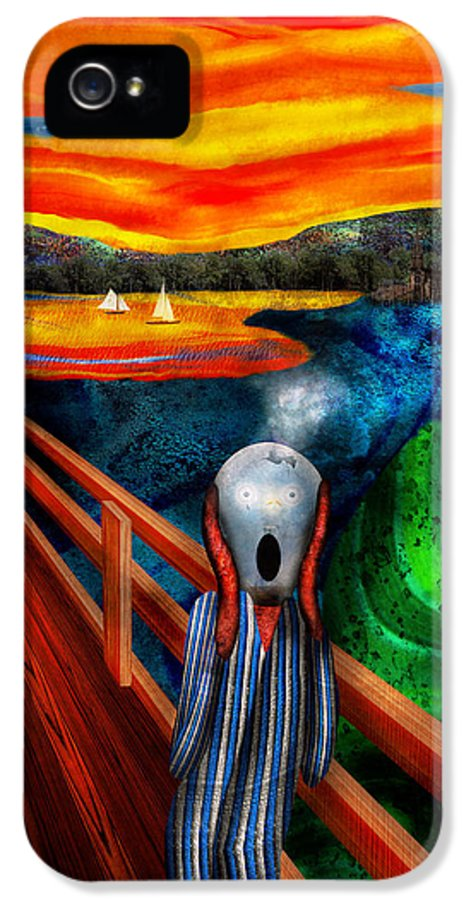 Self IPhone 5 Case featuring the digital art Steampunk - The Scream by Mike Savad