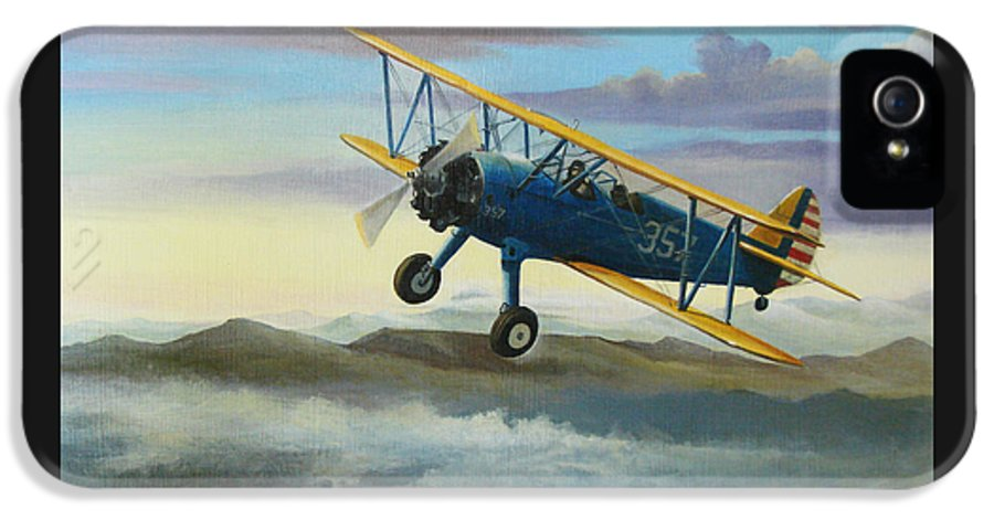 Stearman IPhone 5 Case featuring the painting Stearman Biplane by Stuart Swartz