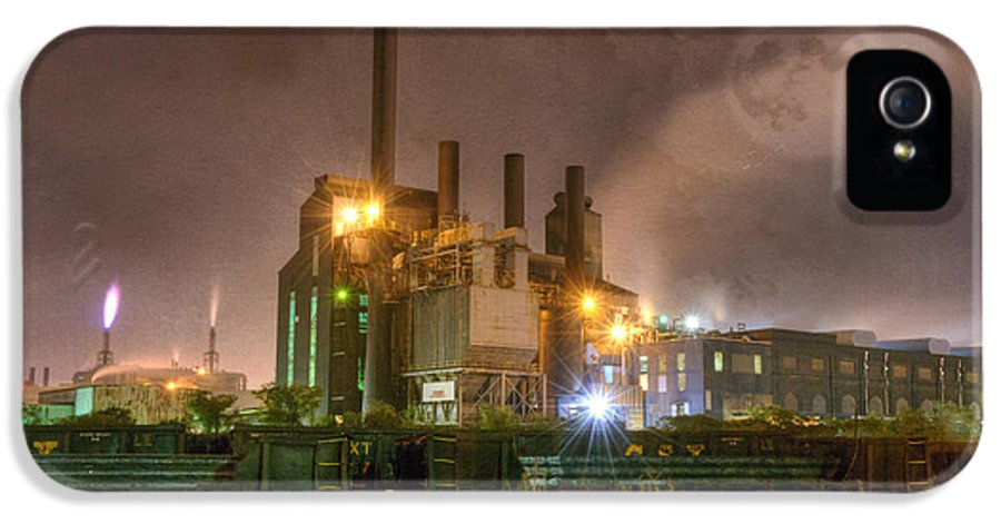 Architecture IPhone 5 Case featuring the photograph Steel Mill At Night by Juli Scalzi