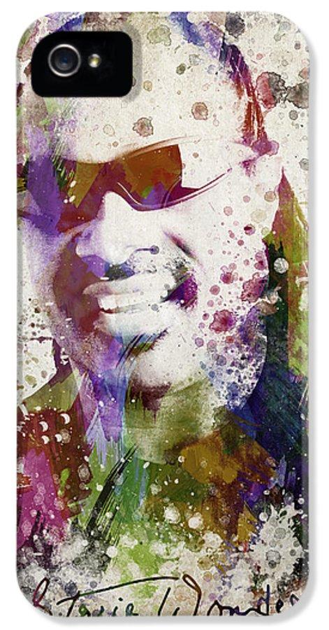Stevie Wonder IPhone 5 Case featuring the digital art Stevie Wonder Portrait by Aged Pixel