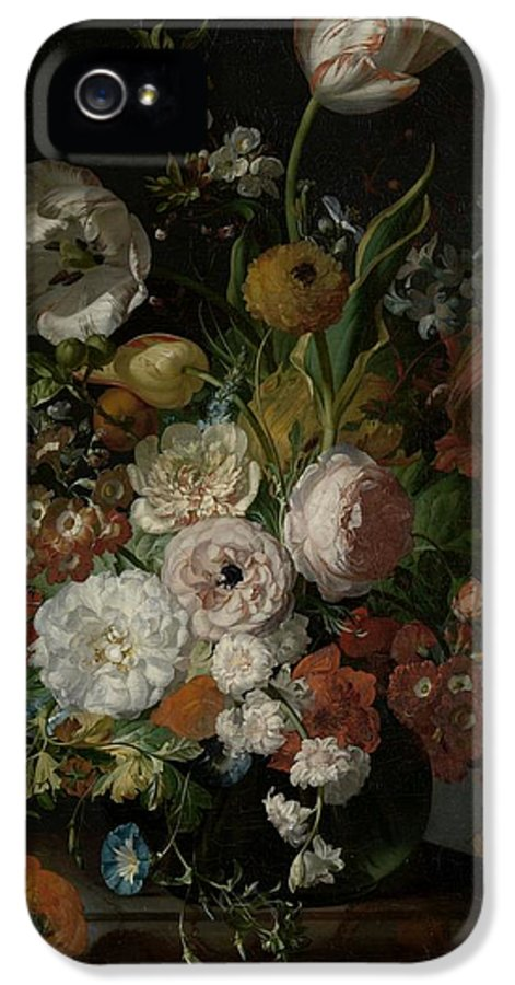 Ruysch IPhone 5 Case featuring the painting Still Life With Flowers In Glass Vase by Rachel Ruysch