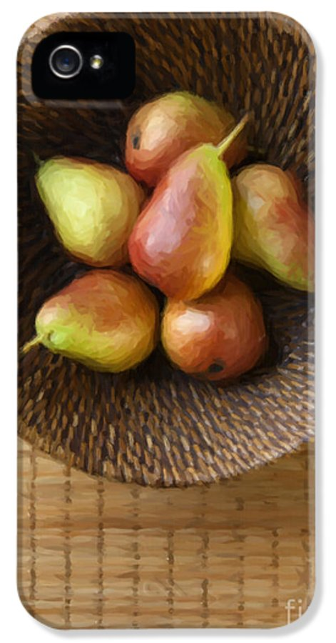 Pears IPhone 5 Case featuring the photograph Still Life With Pears And A Rattan Bowl. by Diane Diederich