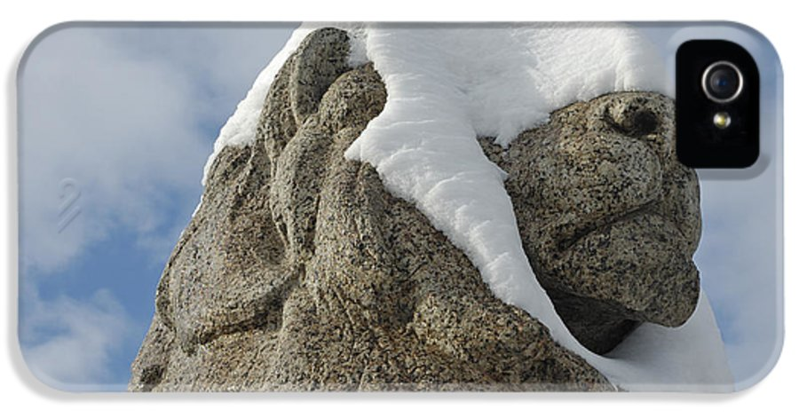 Lion IPhone 5 Case featuring the photograph Stone Lion Covered With Snow by Matthias Hauser