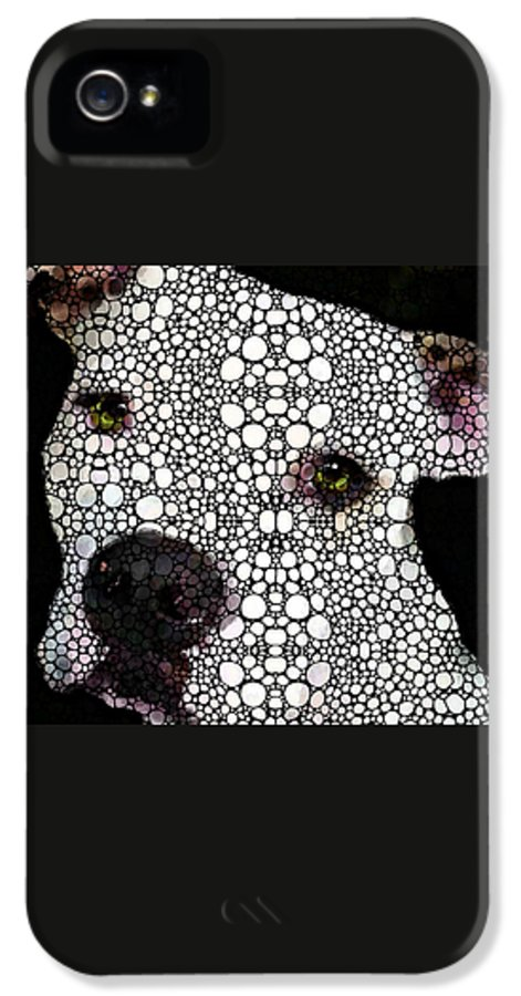 Dog IPhone 5 Case featuring the painting Stone Rock'd Dog By Sharon Cummings by Sharon Cummings