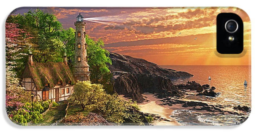 Lighthouse IPhone 5 Case featuring the digital art Stoney Cove Lighthouse by Dominic Davison