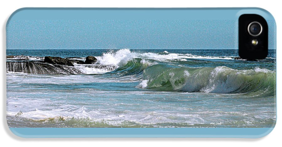Bluescape IPhone 5 Case featuring the photograph Stormy Lagune - Blue Seascape by Ben and Raisa Gertsberg