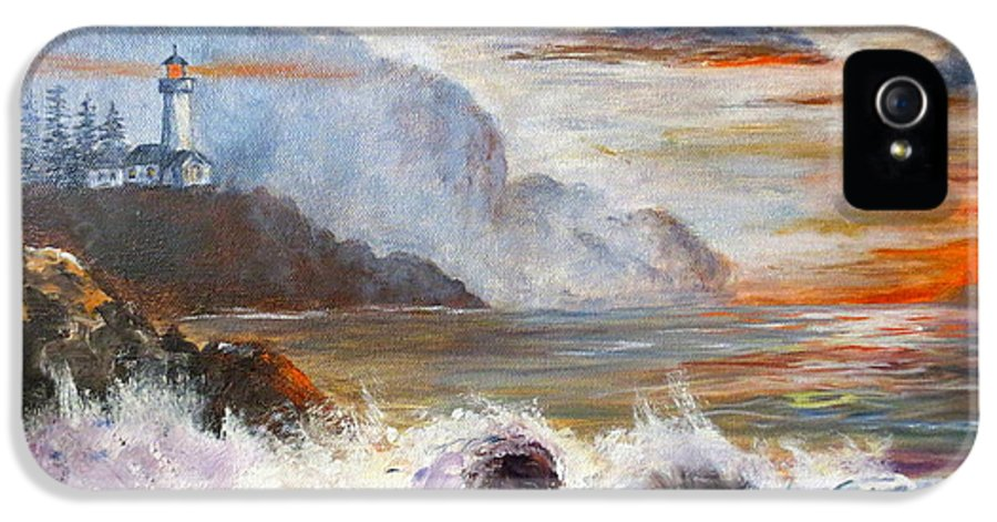 Ocean Painting IPhone 5 Case featuring the painting Stormy Sunset by Lee Piper