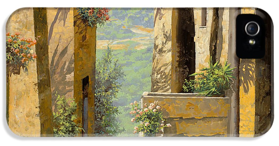 Landscape IPhone 5 Case featuring the painting stradina a St Paul de Vence by Guido Borelli