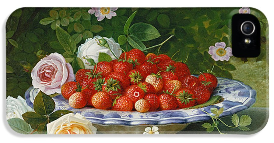 Still-life IPhone 5 Case featuring the painting Strawberries In A Blue And White Buckelteller With Roses And Sweet Briar On A Ledge by William Hammer