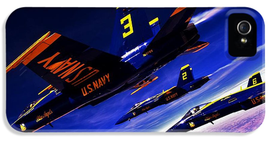 Blue Angels IPhone 5 Case featuring the photograph Streaking Blues by Benjamin Yeager