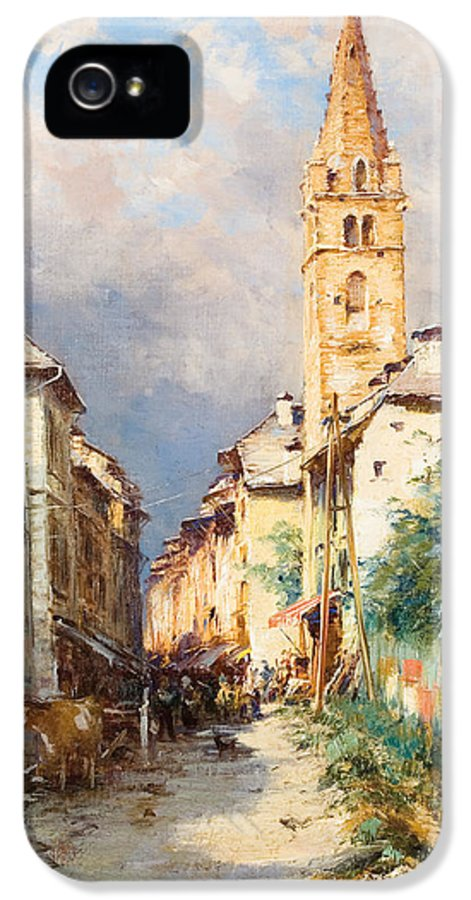 Town IPhone 5 Case featuring the painting Street In Barcelonette by Charles Alexandre Bertier