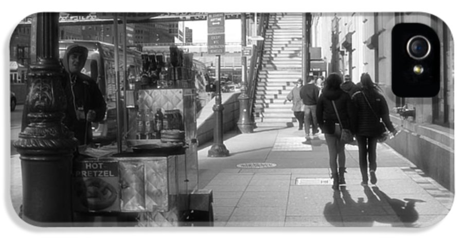 Street Vendor And Stairs In New York City IPhone 5 Case featuring the photograph Street Vendor And Stairs In New York City by Dan Sproul