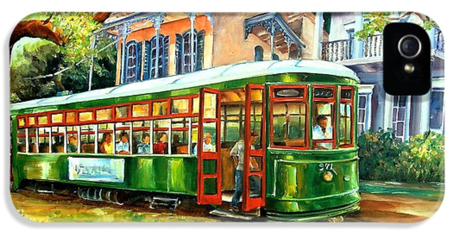 New Orleans IPhone 5 Case featuring the painting Streetcar On St.charles Avenue by Diane Millsap