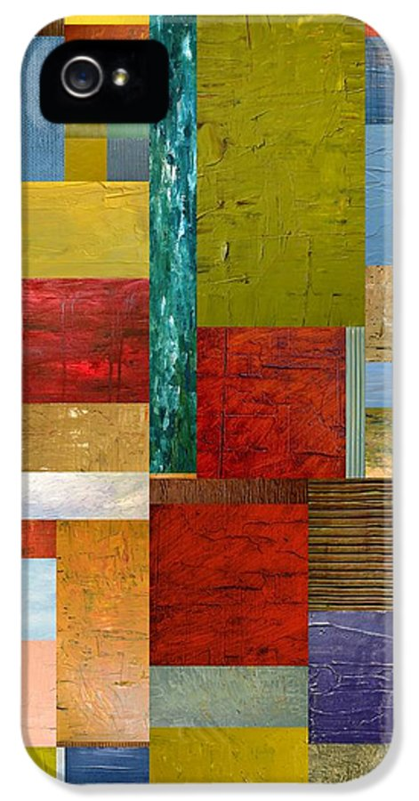 Textural IPhone 5 Case featuring the painting Strips And Pieces Lll by Michelle Calkins