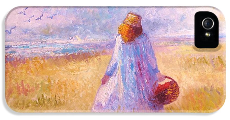 Figure; Landscape; Sky; Ocean; Outdoors; Birds; Etc IPhone 5 Case featuring the painting Stroll By The Sea by Martha Sterling