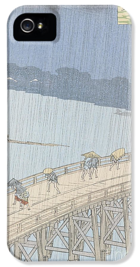 Cent Vues D'edo IPhone 5 Case featuring the painting Sudden Shower On Ohashi Bridge At Ataka by Ando Hiroshige