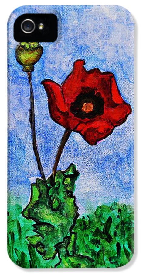 Summer Day Poppy IPhone 5 Case featuring the painting Summer Day Poppy by Sarah Loft